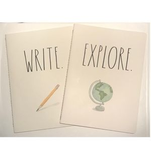 Rae Dunn Write and Explore blank notebooks